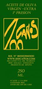 Etiqueta de Aceite de Oliva 100 Caños 250ml.